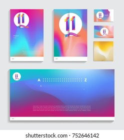 11th anniversary with Fluid colors covers set. celebration template Good for cover, placards, poster, banner, background, flyer design