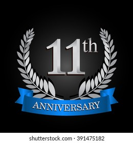 11th anniversary logo with blue ribbon and laurel wreath, vector template for birthday celebration.