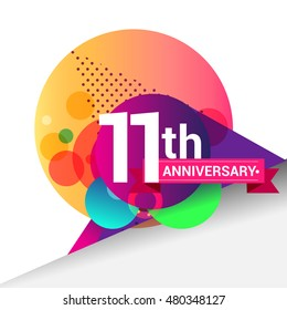 11th Anniversary logo, Colorful geometric background vector design template elements for your birthday celebration.