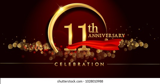 11th anniversary logo with golden ring, confetti and red ribbon isolated on elegant black background, sparkle, vector design for greeting card and invitation card