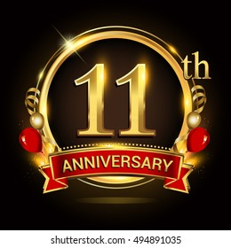 11th anniversary logo with golden ring,balloons and red ribbon. Vector design template elements for your birthday celebration.