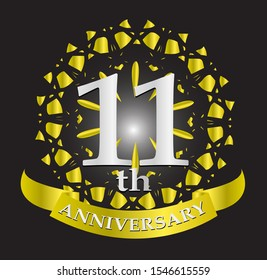 11th anniversary logo with silver and gold ribbon. Vector design template elements for your birthday celebration.