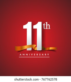 11th anniversary logotype with golden ribbon isolated on red elegance background, vector design for birthday celebration, greeting card and invitation card.