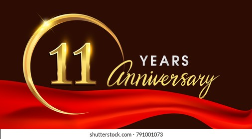11th anniversary logotype with golden ring isolated on red ribbon elegant background, vector design for birthday celebration, greeting card and invitation card.