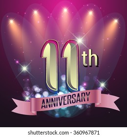 11th Anniversary, Party poster, banner or invitation - background glowing element. Vector Illustration.