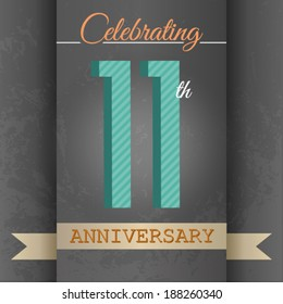 11th Anniversary poster / template design in retro style - Vector Background