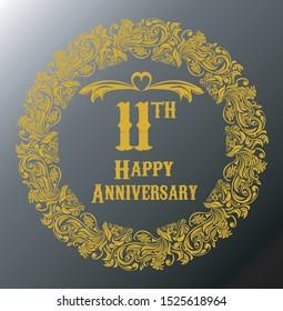 11th anniversary vector design, gray background