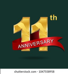 11th anniversary years celebration logotype. Logo gold numbers and ribbon gray background.