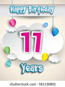 11th birthday Celebration Design, with clouds and balloons. Design greeting card and invitation for the celebration party of eleven years anniversary