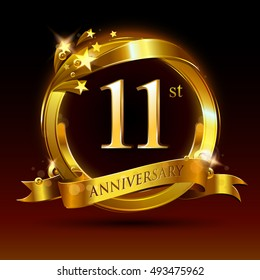 11th golden anniversary logo, 11 years anniversary celebration with ring and ribbon.