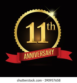 11th golden anniversary logo with shiny ring red ribbon.