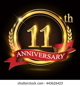 11th golden anniversary logo, with shiny ring and red ribbon, laurel wreath isolated on black background, vector design for birthday celebration.