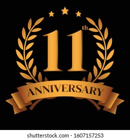 11th golden anniversary logo,with Laurel Wreath and gold ribbon Vector Illustration