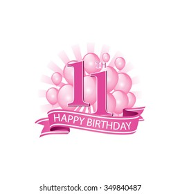 11th pink happy birthday logo with balloons and burst of light