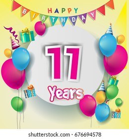 11th years Anniversary Celebration, birthday card or greeting card design with gift box and balloons, Colorful vector elements for the celebration party of eleven years anniversary.