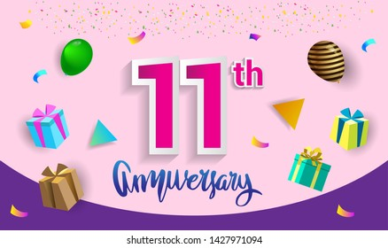 11th Years Anniversary Celebration Design, with gift box and balloons, ribbon, Colorful Vector template elements for your birthday celebrating party.