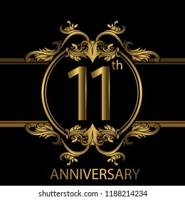 11th years anniversary celebration. 11th anniversary logo with gold color, foil, sparkle