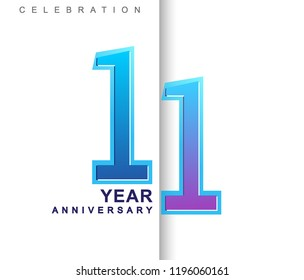 11th Years Anniversary with colorful design. Applicable for brochure, flyer, Posters, web and Banner Designs, anniversary celebration