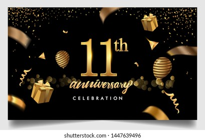 11th years anniversary design for greeting cards and invitation, with balloon, confetti and gift box, elegant design with gold and dark color, design template for birthday celebration.
