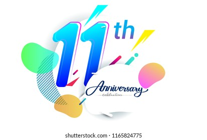 11th years anniversary logo, vector design birthday celebration with colorful geometric background, isolated on white background.