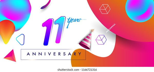 11th years anniversary logo, vector design birthday celebration with colorful geometric background and futuristic elements