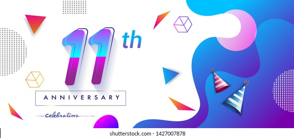 11th years anniversary logo, vector design birthday celebration with colorful geometric background and circles shape.