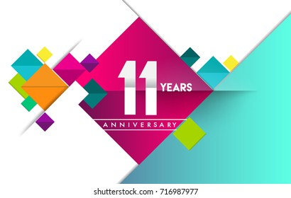 11th years anniversary logo, vector design birthday celebration with colorful geometric isolated on white background.