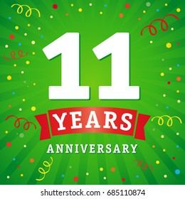 11th years anniversary vector background with red ribbon and colored confetti on green flash radial lines. 11 years anniversary logo celebration card