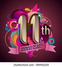 11th years anniversary wreath ribbon logo, geometric background