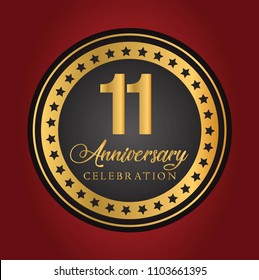 11th years gold anniversary celebration simple logo vector design