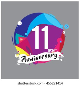 11th years greeting card anniversary with colorful number and frame. logo and icon with circle badge and background