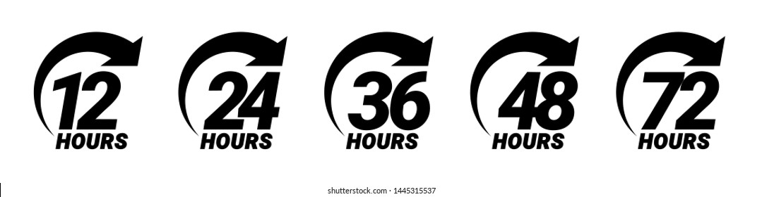 12, 24, 36, 48 and 72 hours order execution or delivery service icons. Vector illustration