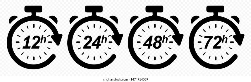12, 24, 48 and 72 hours clock arrow. Vector work time effect or delivery service time icons