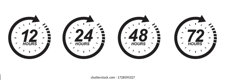 12, 24, 48 and 72 hours clock sign icon. service opening hours, work time or delivery service time symbol, vector illustration isolated on white  background.