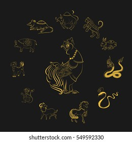 12 animals of the Chinese zodiac  based on the belief of the people of Asia. This is the year that represents destiny and lifestyle.. The symbols of the New Year, Eastern calendar