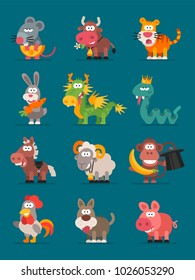 12 Animals Chinese Zodiac. Vector illustration. Set Characters. Mascot Pack.
