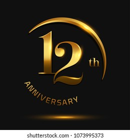 12 Anniversary Celebration Design.invitation card, and greeting card. elegance golden color isolated on black background