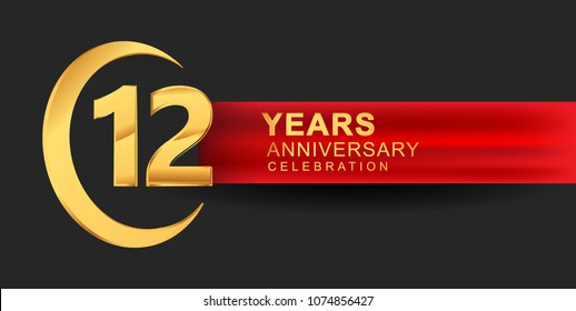 12 anniversary design logotype golden color with ring and red ribbon for anniversary celebration