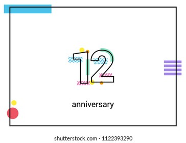 12 Anniversary simple black line with memphis ornaments isolated on white background