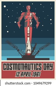 12 April 1961 Cosmonautics Day. Stylization under the Old Soviet Space Poster