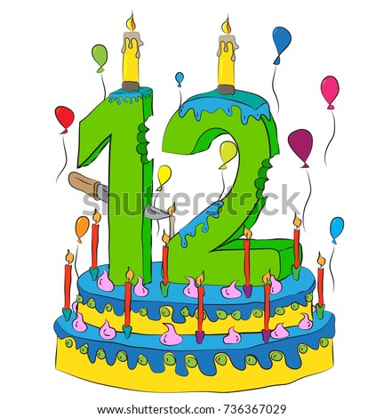 12 Birthday Cake With Number Twelve Candle Celebrating Twelfth Year Of Life Colorful Balloons