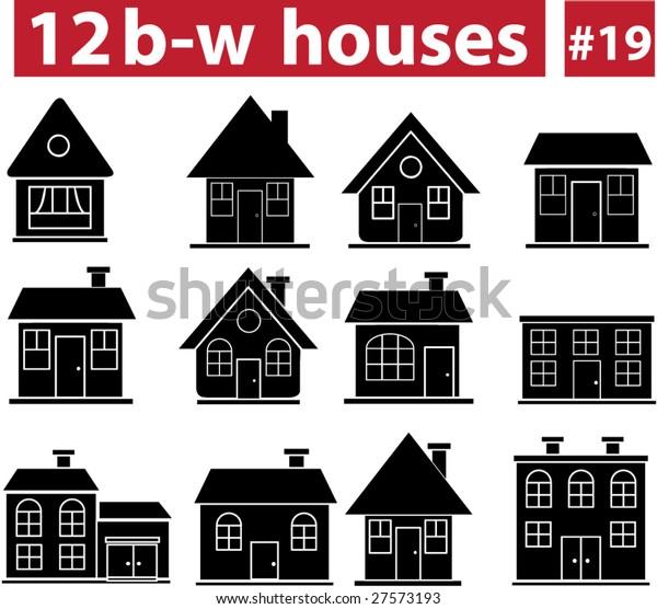12 Blackwhite Houses 19 Vector Set Stock Vector Royalty