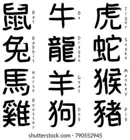 12 Calligraphy Chinese zodiac signs. Chinese New Year. Chinese signs