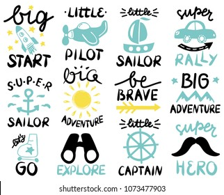 12 children logo with handwriting Big start, Little Pilot, Super Sailor, Adventure, Be brave, Lets GO, Explore, Captain, Hero, Rally. Kids background Baby Poster Emblem Icon