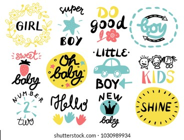 12 children s logo with handwriting Little, Girl, Boy, Hello, Oh baby, Shine, Sweet, Number two, Do good, New. Kids background Poster Emblem Icon