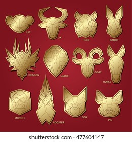 12 Chinese zodiac animal. Geometric vector. Set of polygons with gold animal head.