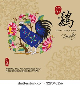 12 Chinese Zodiac Signs of Rooster with chinese calligraphy text and the translation. Auspicious Chinese Seal (top) Good luck and happiness to you and (bottom) Rooster.