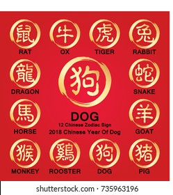 12 Chinese zodiac symbols / 2018 year of the Dog