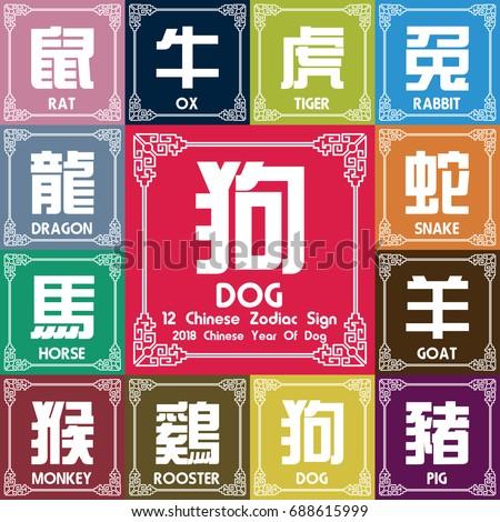 12 Chinese Zodiac Symbols 2018 Year