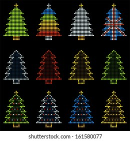 12 Christmas Trees in LED Dot Patterns